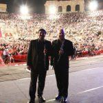 Con Carlo Romano, pre-concerto Arena di Verona